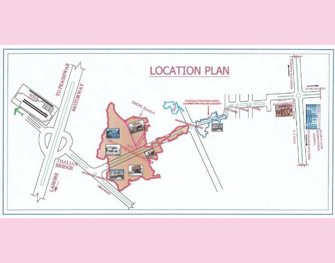 Enclosures Housing Society Rawalpindi Location Plan