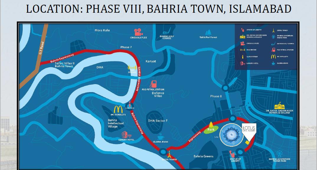 Lotus Lake Towers Bahria Town Phase 8 Rawalpindi Location