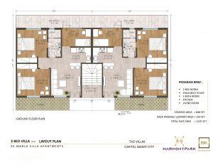 Floor Plan of 5 Marla Villa Apartment